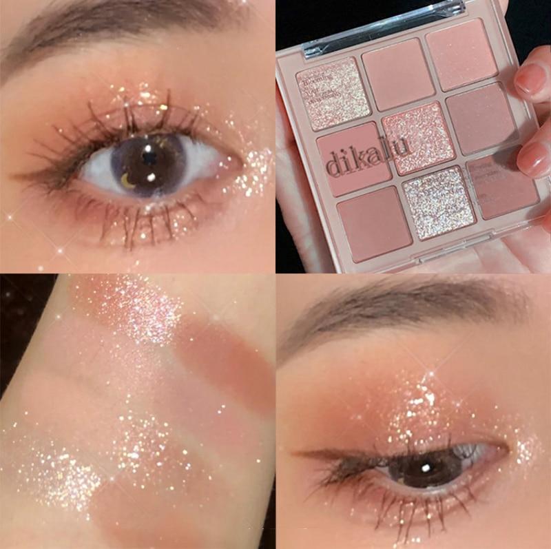 DIKALU Mode Eyeshadow Palette Milk Tea Nine-color Eyeshadow Palette Pearly Matte Nine-Gong Eyeshadow