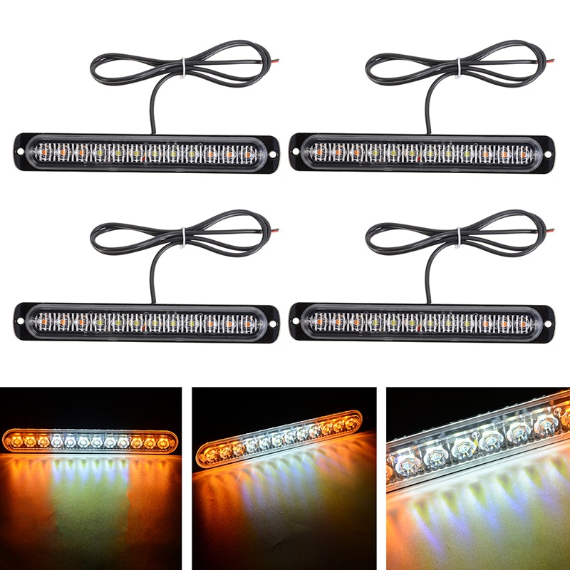 Mayitr 4 pces 12led âmbar branco luz estroboscópica caminhão hazard beacon flash avisar lâmpada sinal dia-tempo correndo luzes de emergência 12-24 v