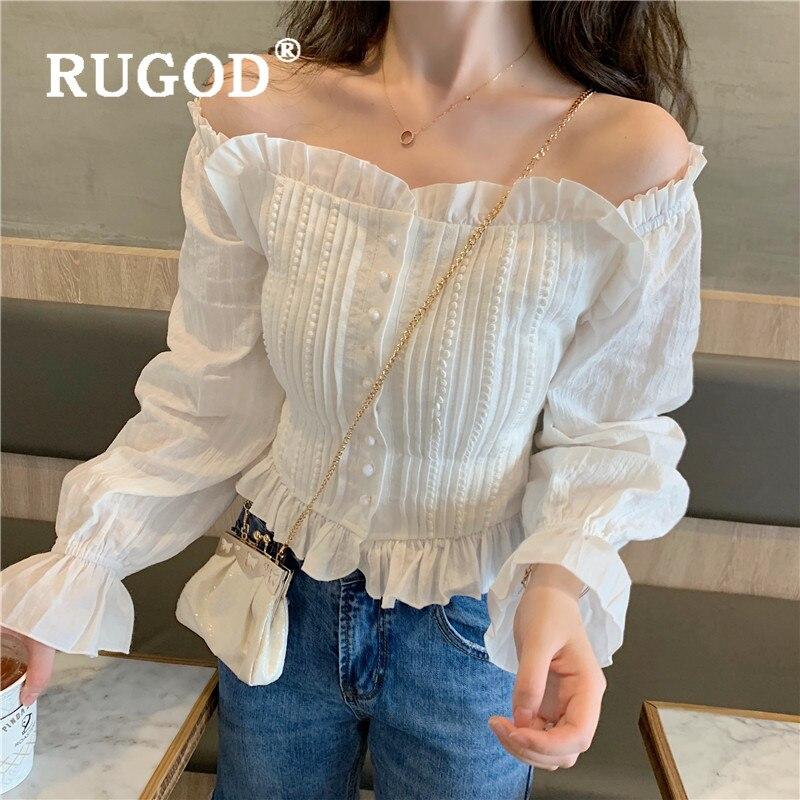 RUGOD Vintage off shoulder mujer blusa elegante ruffles flare manga slim Camisas Mujer 2019 fanshion auturm blanco tops mujer