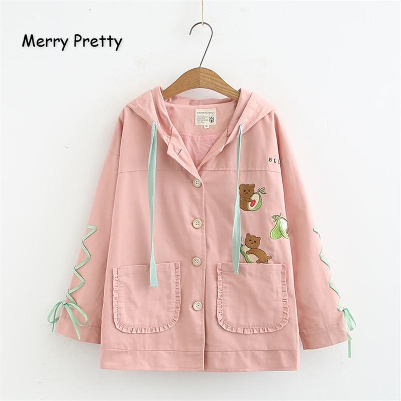 Chaqueta básica con bordado de oso de dibujos animados para mujer Merry Pretty, chaqueta con capucha de manga larga de invierno 2019, abrigo cruzado