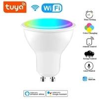 Ampoule intelligente Gu10 Tuya Wifi 4W  projecteur LED RGBCW  lumiere a gradation  application Smart life  commande vocale a distance avec Alexa Google Home