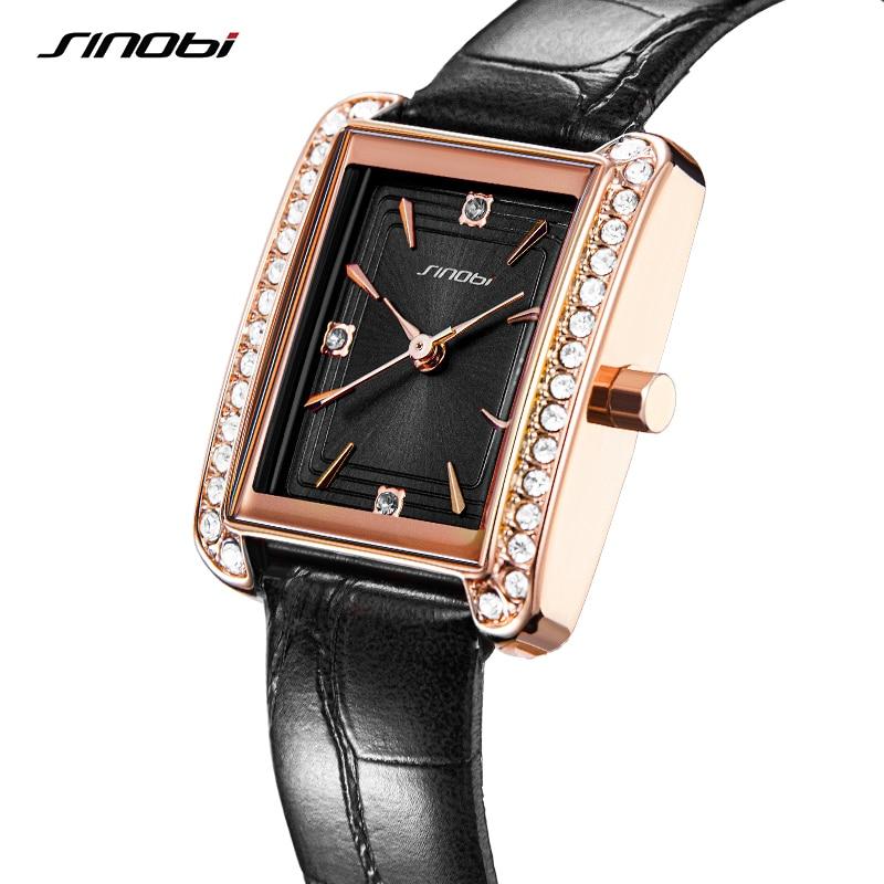 Fashion Leather SINOBI Women Watches Luxury Original Design Rectangle Dial Woman Quartz Wristwatch Ladies Diamond Clock Relogio enlarge
