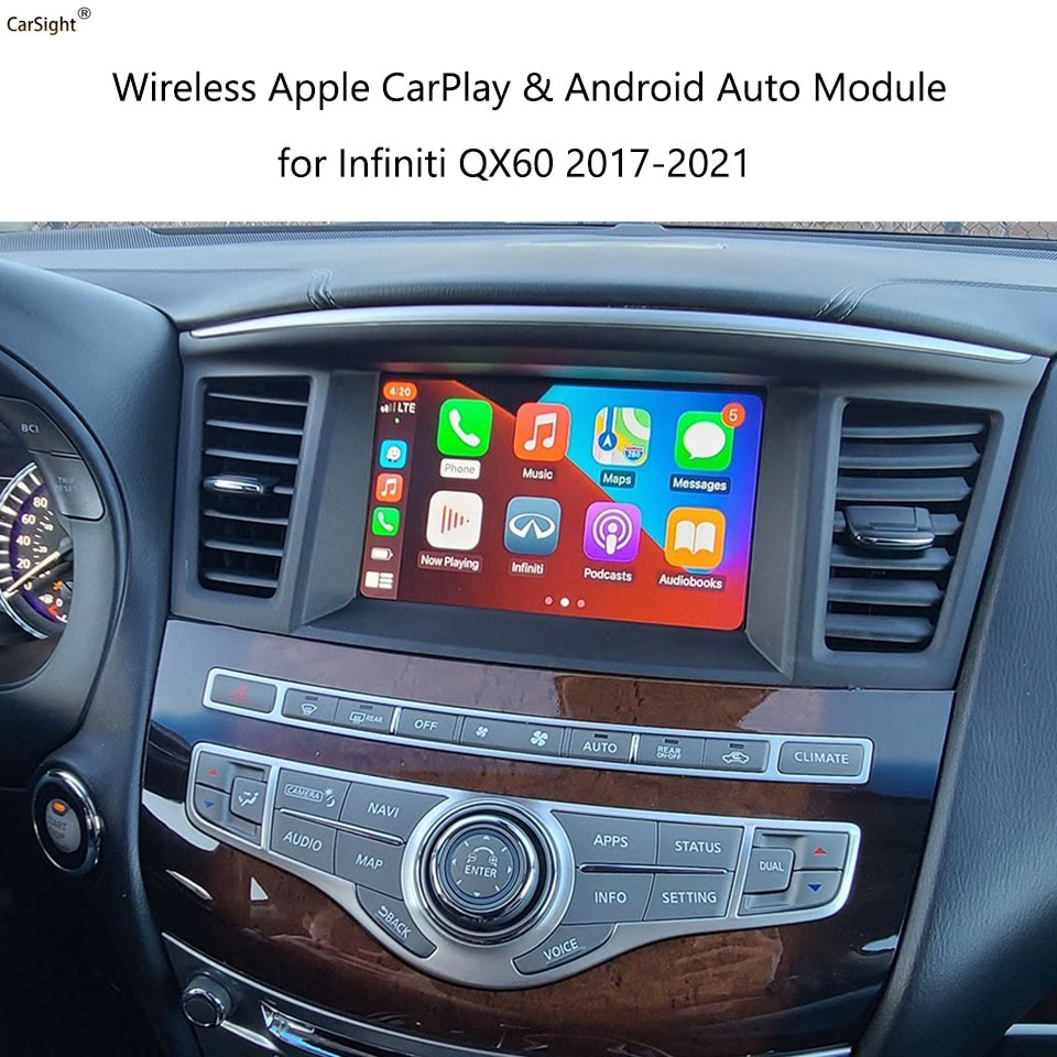 CarPlay Android Auto for Infiniti QX60 2017 to 2021 Car Play Youtube Google Message Hands-Free Phone Call Whatsapp USB Vide-