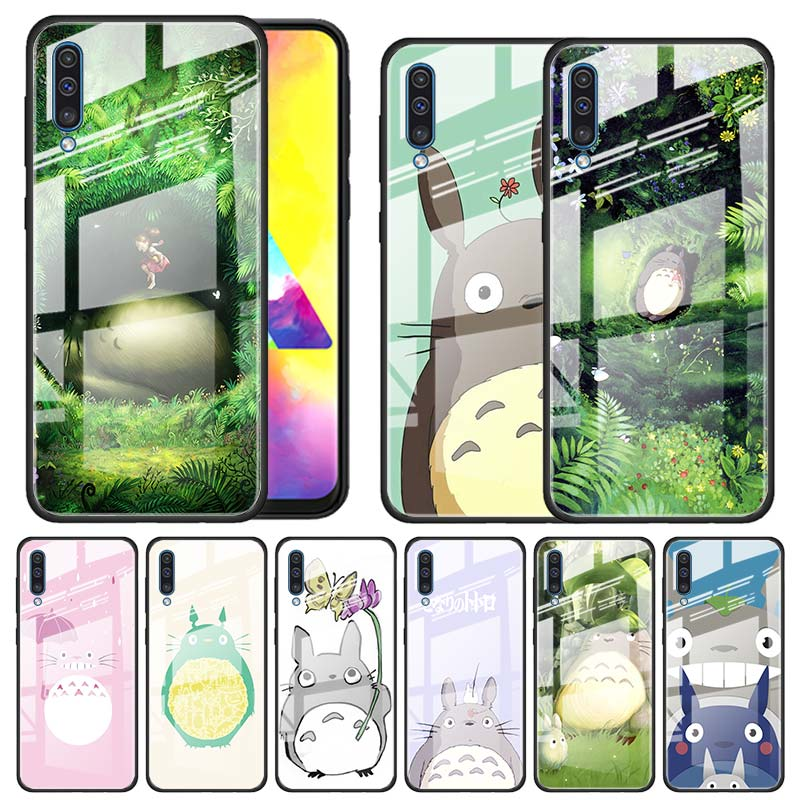 Studio ghibli espíritu Totoro funda de vidrio templado para Samsung Galaxy A10 A20 A30 A40 A50 A70 A51 A71 A81 A91 A31 A41 M31 M51 divertido