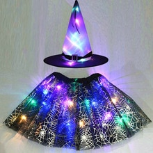 Party Kids Girl LED Glow Light Up Witch Hat Spider Web Cobweb Skirt Halloween Christmas Costume Cosplay Magic Wand Fancy Dress