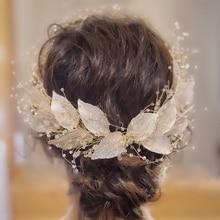 Luxury Big Leaf Tiara Long Headband Crown Wedding Bridal Hair Accessories Crowns Women Hairband Tiaras