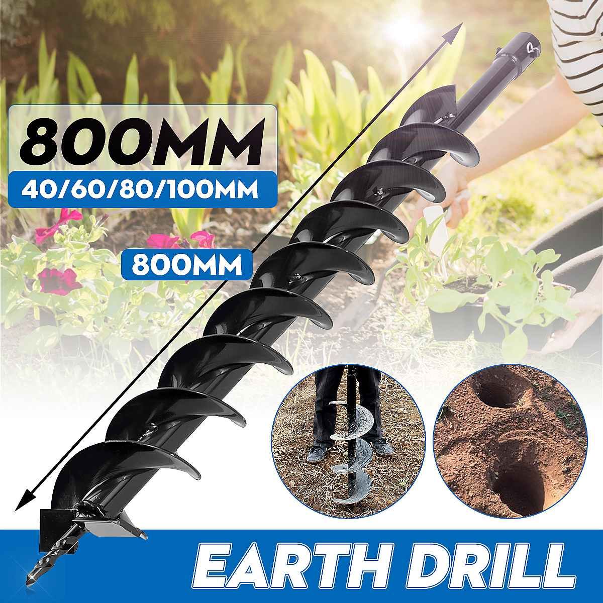800mm Earth Drill Dual Blade Auger Drill Bit Fence Borer For Earth Petrol Post Hole Digger Power Tool Accessories 40/60/80/100mm