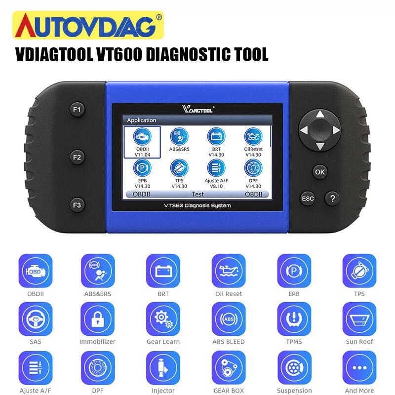 Herramienta de escáner automotriz VT600 OBD2 motor VT 600 ABS SRS EPB servicio de reinicio del inyector de codificación OBDII herramienta de diagnóstico