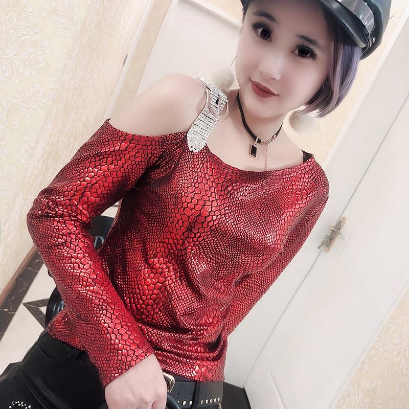 Moda coreana Sexy leopardo fuera del hombro Camiseta diamantes 2019 Otoño Invierno mujeres manga larga serpiente Top Camiseta Mujer T97920