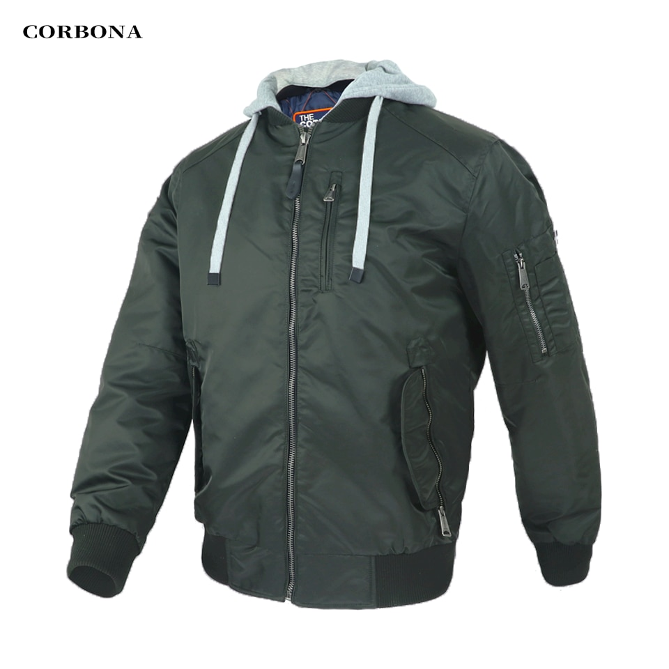 Corbona New Autumn Baseball Man's Jackets Windproof Casual Bomber Jackets Air Force Military Hooded Male Winter Coat Homme Parka
