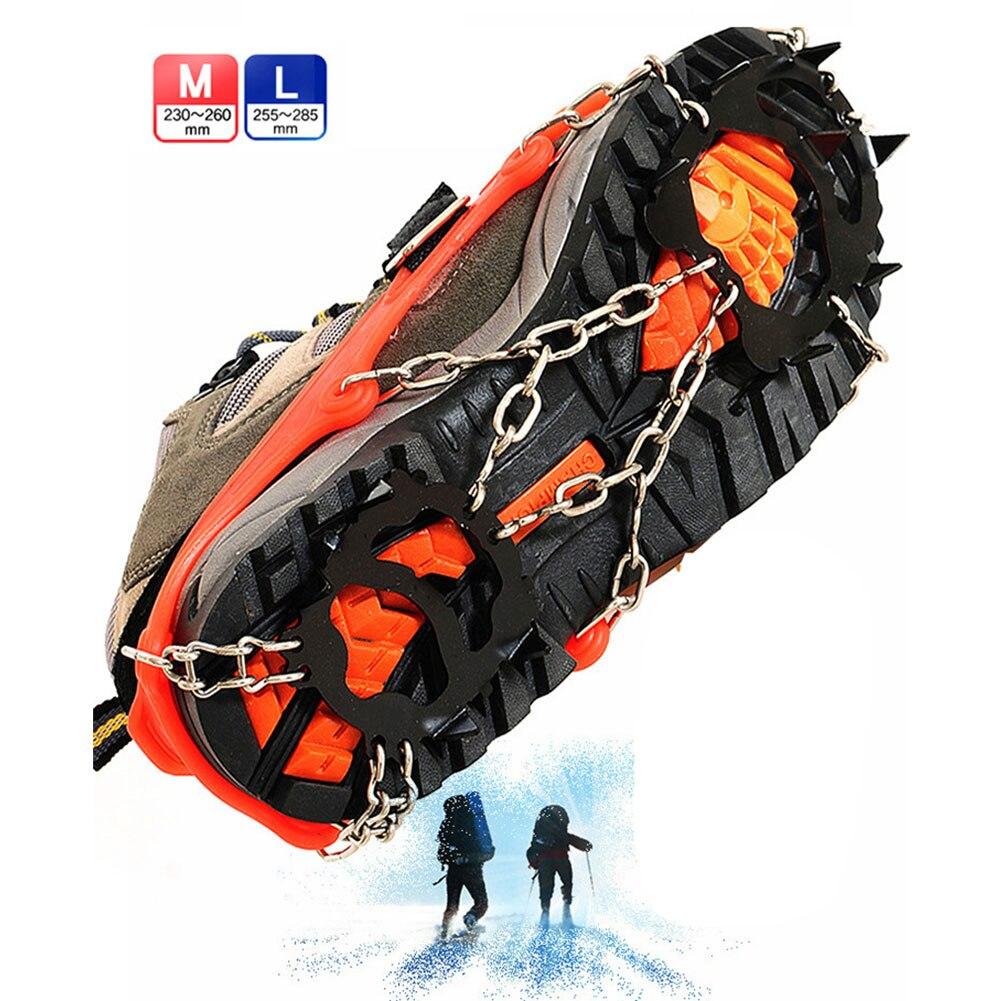 Zapatos de escalada de crampones al aire libre 12 dientes equipados con mangas antideslizantes de acero de manganeso escalada de nieve crampones de cadenas