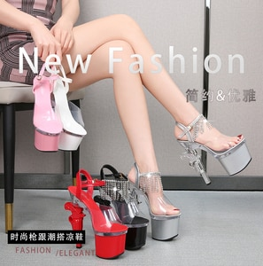 Diamond fringed one word with thick with high heel sandals catwalk shows T stage cm high transparent hate day for women's shoes