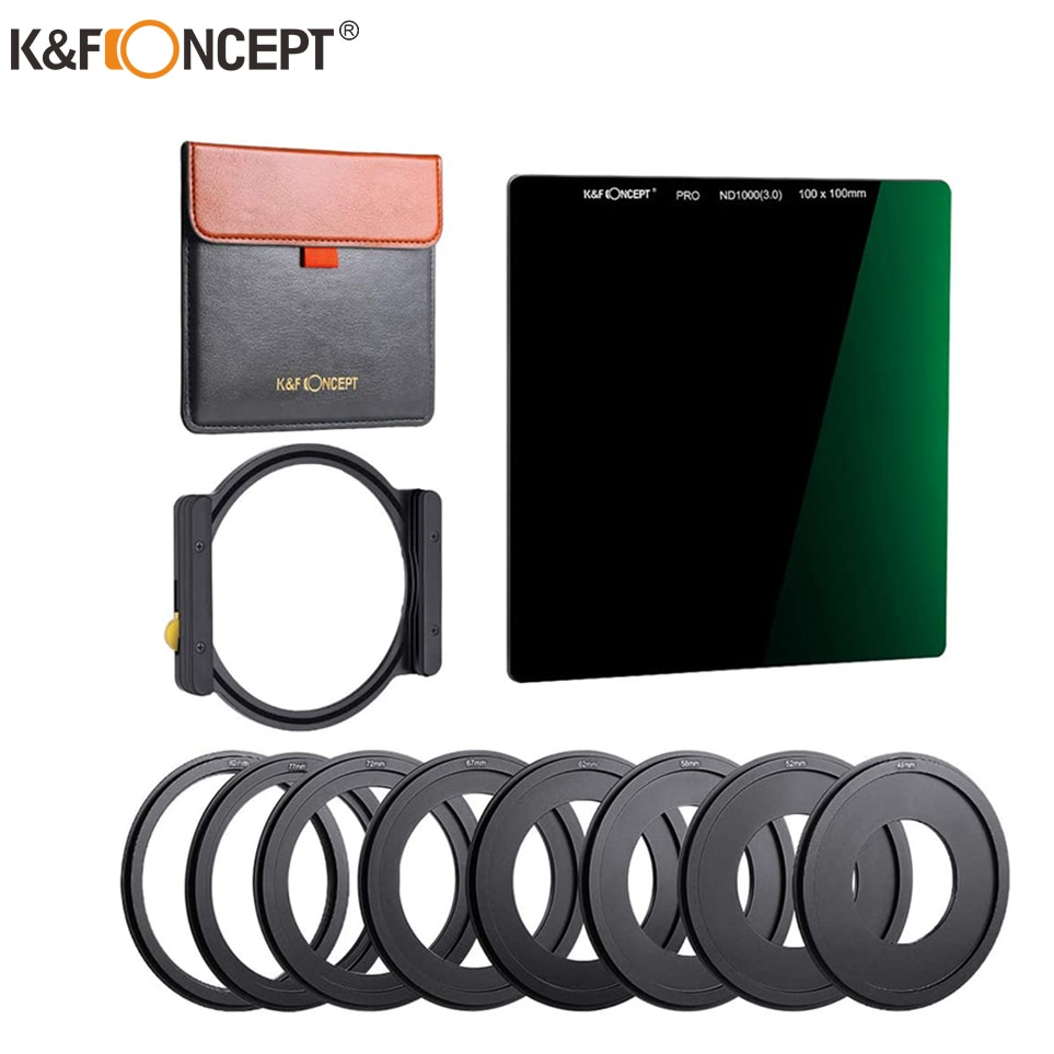 ND1000 Square Filter Multi-Coated 100x100mm Neutral Density Filter with One Filter Holder 8pcs Filter Ring adapters
