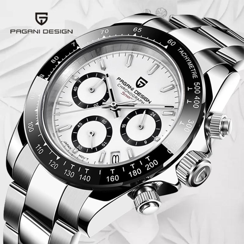 Vestido de Quartzo Relógio de Pulso Pagani Design Relógios Masculinos Inoxidável Daytona Homenagem Chronograph Relógio Masculino 2021 Aço