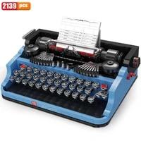 mould king idea expert retro collection typewriter keyboard creative moc set toys building blocks writing machine for boy toys