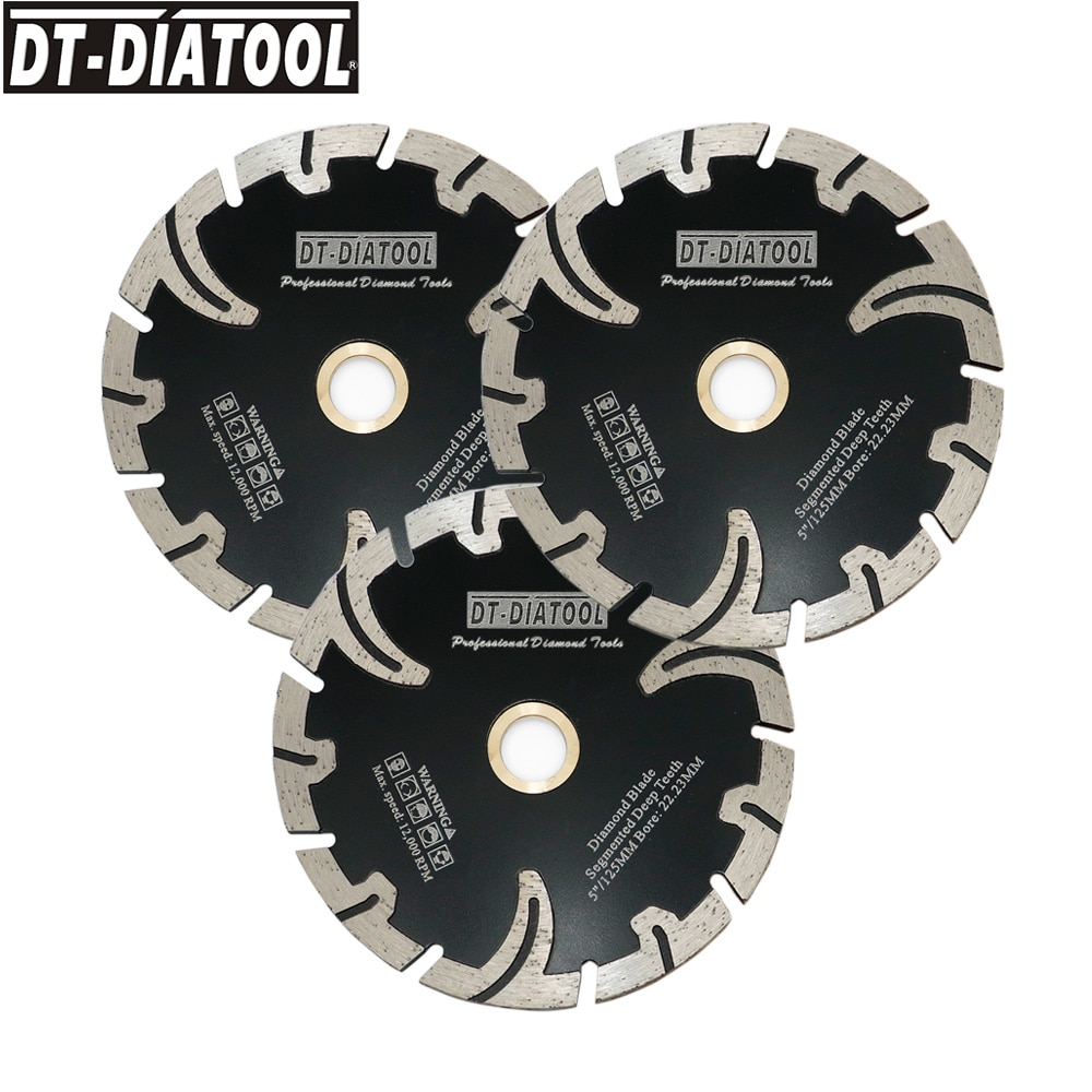 DT-DIATOOL 3pcs Dia 5inch/125mm Segmented Deep Teeth Diamond Saw Blades for angle grinder Cutting Disc for Granite