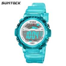 SUMTOCK Sport enfants montre numérique pour garçons filles bracelet Transparent bleu rose alarme montre 3M LED étanche étudiant cadeau horloge