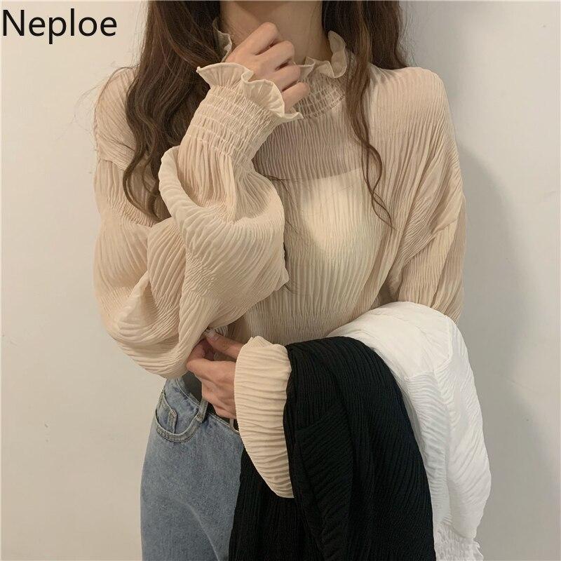 Neploe 2020 New Chiffon Pleated Blouse Shirts Flare Long Sleeve Half Turtleneck Basic Blusas Top Fashion Solid Slim Blouse 4B320