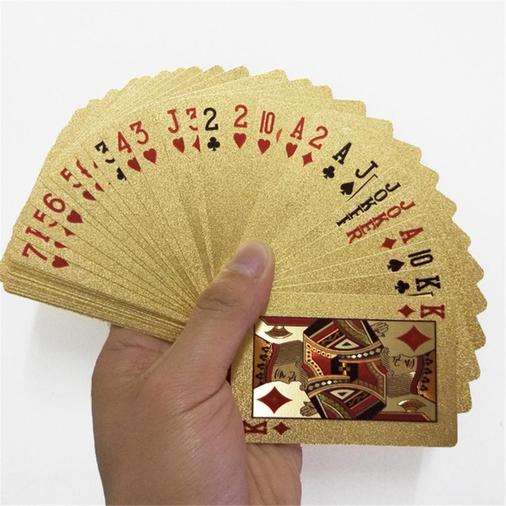 2 Set 24K Oro Carte da Gioco Gioco di Poker Deck Poker Lamina Doro Set di Plastica Magia Della Carta Impermeabile Carte da Gioco di Magia giochi da Tavolo