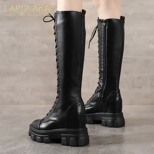 Lapolaka 2020 New Arrivals High Heels Zipper Trendy Boots Woman Shoes Platform Chic Tire Sole Shoelaces Motorcycles Boot Winter