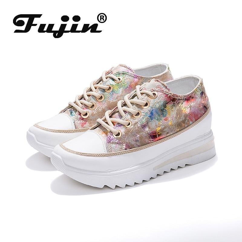 Fujin plataforma femenina zapatos planos de mujer Zapatillas casuales de mujer Primavera Verano Loafer para mujer zapatos planos tacones de cuña