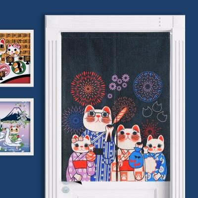 Cortina de Algodão e Linho Decoração da Sala Estilo Japonês Pano Porta Clássico Fortune Cat Partição Varanda Cozinha Casa Estar