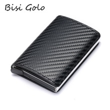 BISI GORO 2020 mode crédit porte-carte carbone porte carte en fibre porte-carte aluminium mince porte-carte courte porte-carte RFID blocage carte portefeuille