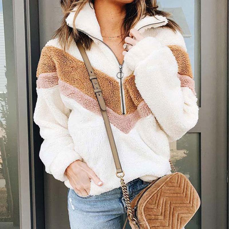 2019 Winter Jacket Pullover Women Autumn Fleece Pullover Coat with Fur Teddy Bear Coats Female Zipper Warm Thick Jacket Woman