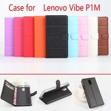 Pour Lenovo Vibe P1m coque de téléphone Folio Flip couleur Pure motif litchi portefeuille en cuir synthétique polyuréthane housse de couverture caisse/fentes pour cartes sanheng