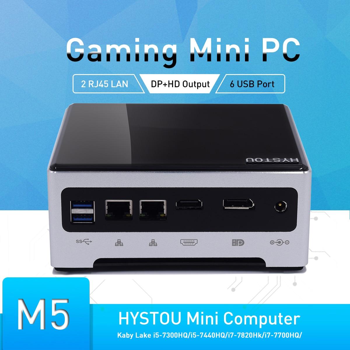 Hystou nuevo Mini PC Core i7 7820HK i5 7440HQ Dual M.2 NVME SSD Windows 10 Pro HDMI DP cliente 64GB de RAM pequeña computadora de escritorio pc