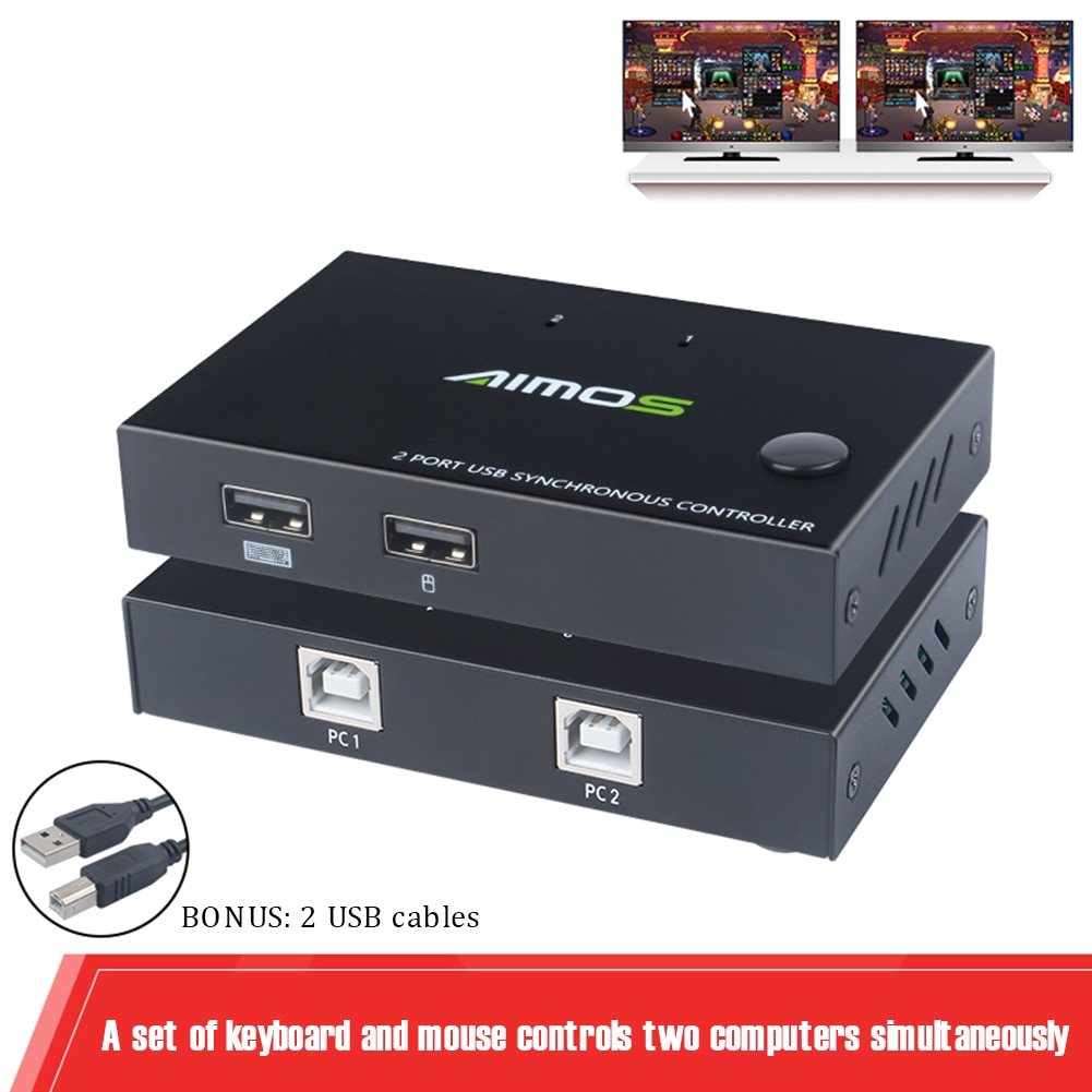2 Ports USB Switch Selector KM Switch Computer Peripheral for PC Monitor Projector Keyboard Mouse Share two Computers In Stock