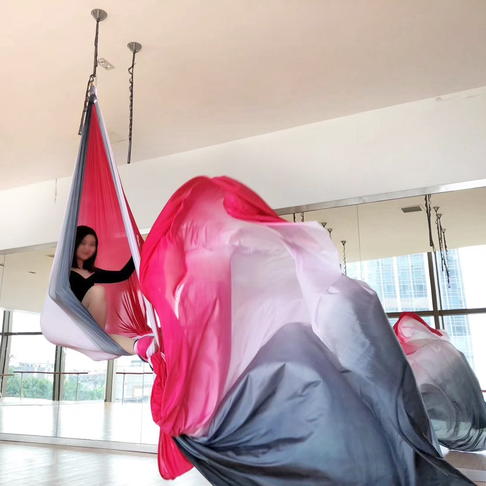 2020 11 Yards 10M Ombre Aerial Silk High Quality Gradational Colors Aerial Yoga Anti-gravity for yoga training Yoga for sporting