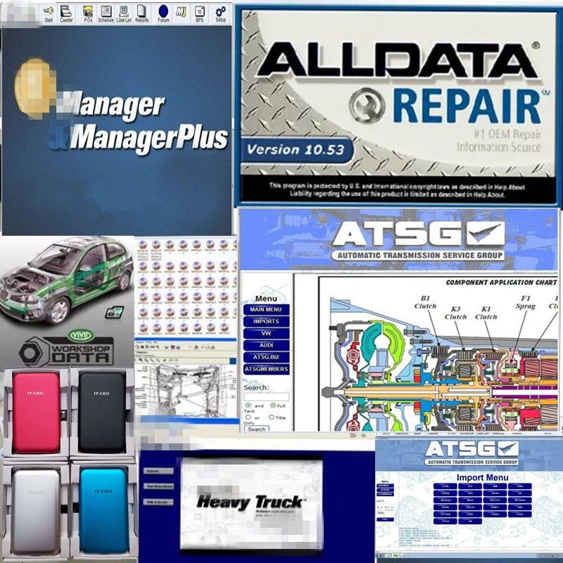 2020 alldata auto repair software Alldata 10.53 + Mit.hell 2015 +heavy truck software 25in1 in 1TB HDD free remote