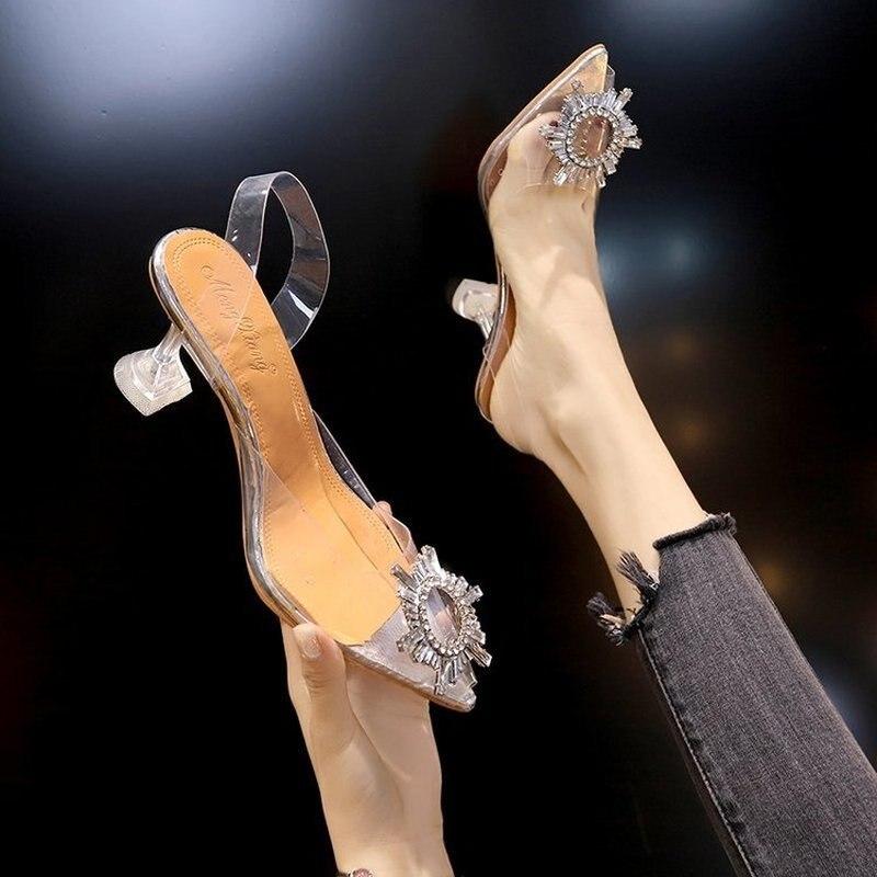 De lujo de las mujeres 2020 transparente alta tacones puntiagudos Sexy Slip-en...