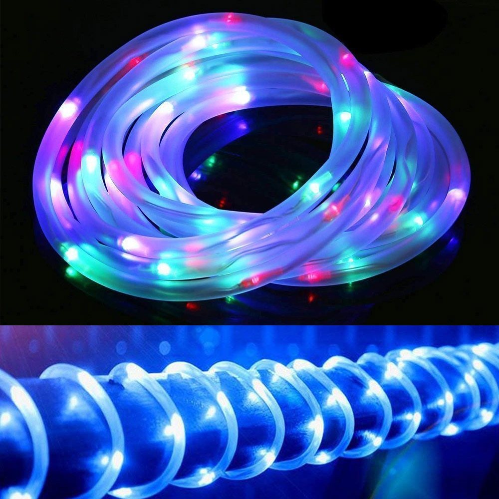 Tubo de cuerda 12m 100 LED guirnalda Solar luces de hadas al aire libre 7M 50 LED lámpara Solar para decoración de jardín fiesta de Navidad impermeable