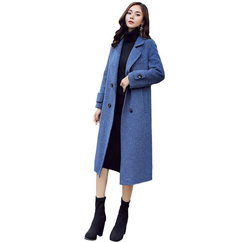 Abrigo largo de Otoño/Invierno 2019 para mujer, moda para actividades al aire libre, versión coreana cálida, ajustado, aumento de altura, chaqueta de mujer para oficina
