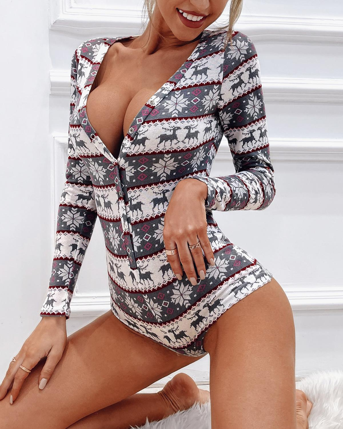 2020 Women Elegant Fashion Sexy Casual V-Neck Buttoned Christmas Plunge Button Long Sleeve Bodysuit plunge choker neck pearl beading bell sleeve bodysuit