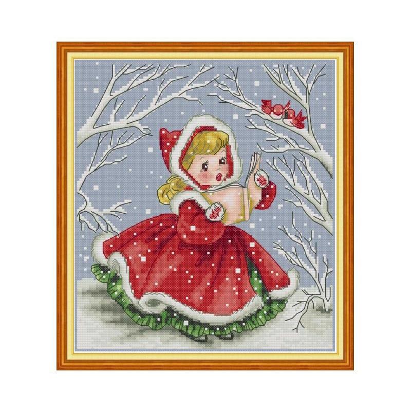 Joy Sunday DMC Cross Stitch Kits Full Counted Aida Fabric 14 Cross Stitching Printed Canvas Embroidery Stitch DMC DIY Needlewrok