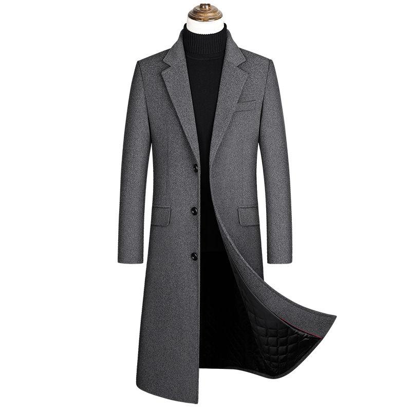 جديد الشتاء الرجال الصوف Blends معاطف جودة العلامة التجارية الرجال الموضة عارضة مقطع طويل معطف سميكة الدافئة الصوف معطف الذكور Ropa Hombre