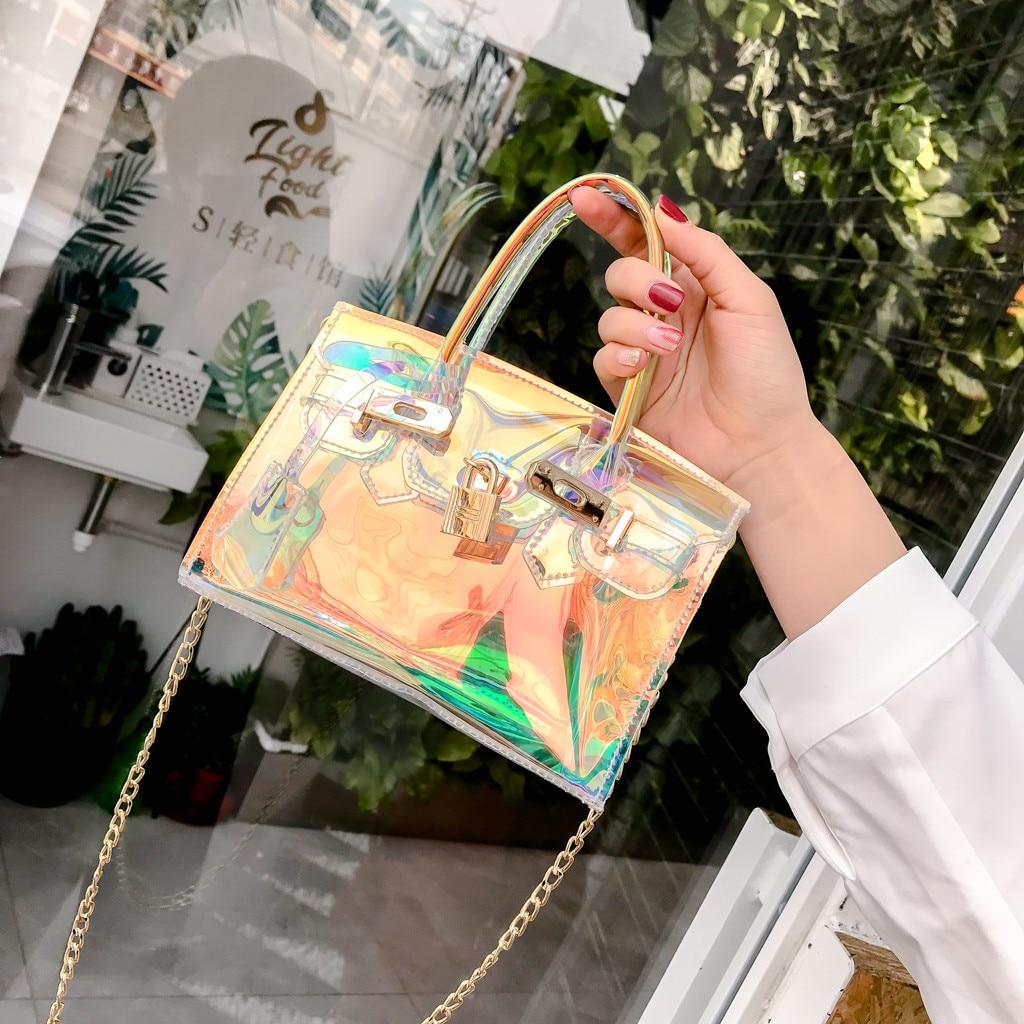 Láser bolsa transparente claro mujeres jalea bolsas impermeable Anti-robo de bolsas de mensajero de hombro, Crossbody Pack para la playa Sac principal # H30