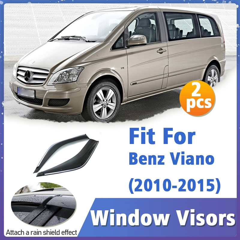 Window Visors Guard for Benz Viano 2010-2015 Vent Cover Trim Awnings Shelters Protection Deflector Rain Rhield 4pcs 2011 2012