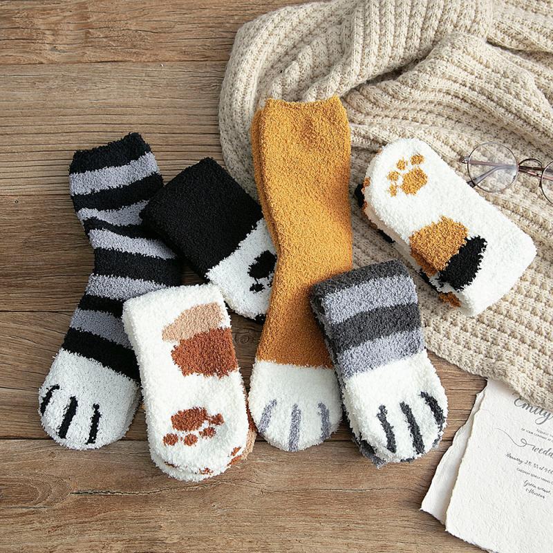 Socks for women Lovely Winter Cat Claws Socks Cute Thick Warm Sleep Floor Socks Plush Coral Xmas Gifts UK sport Socks dropship