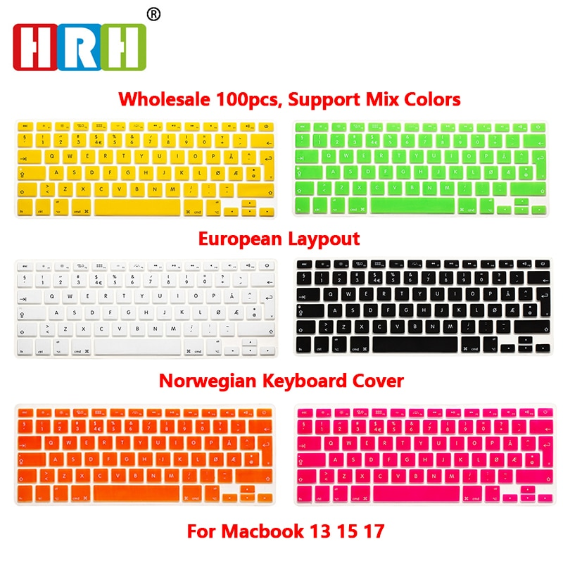 HRH 100pcs Norwegian Laptop Silicone Keyboard Cover Skin Protector Film For MacBook Air Pro with 13