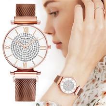 WJ-8756 Hot Fashion Women Magnet Buckle Full Diamond Watch Luxury Ladies Stainless Steel Quartz Watch Clock Relogio Feminino