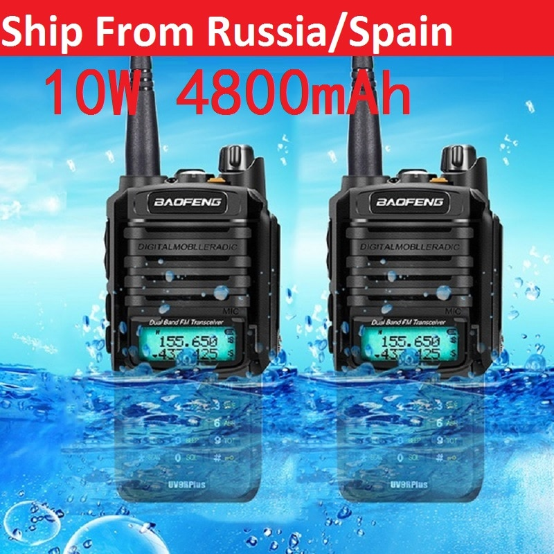 2 uds 10W 4800mah Baofeng UV-9R plus versión mejorada radio comunicador impermeable walkie talkie baofeng uv 9r más рация