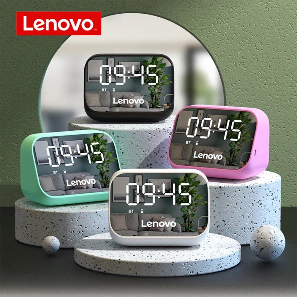 [해외] 레노버 TS13 무선 BT 스피커 휴대용 무선 서브 우퍼 스테레오 스피커 오디오 플레이어 단일 알람 시계 미러 디자인