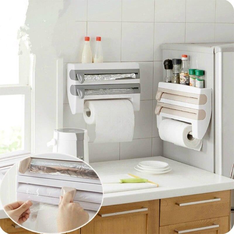 Soporte para papel de cocina de montaje en pared estante de almacenamiento de botellas de salsa 4 en 1 cortador de película de plástico multifunción organizador de cocina estante colgante