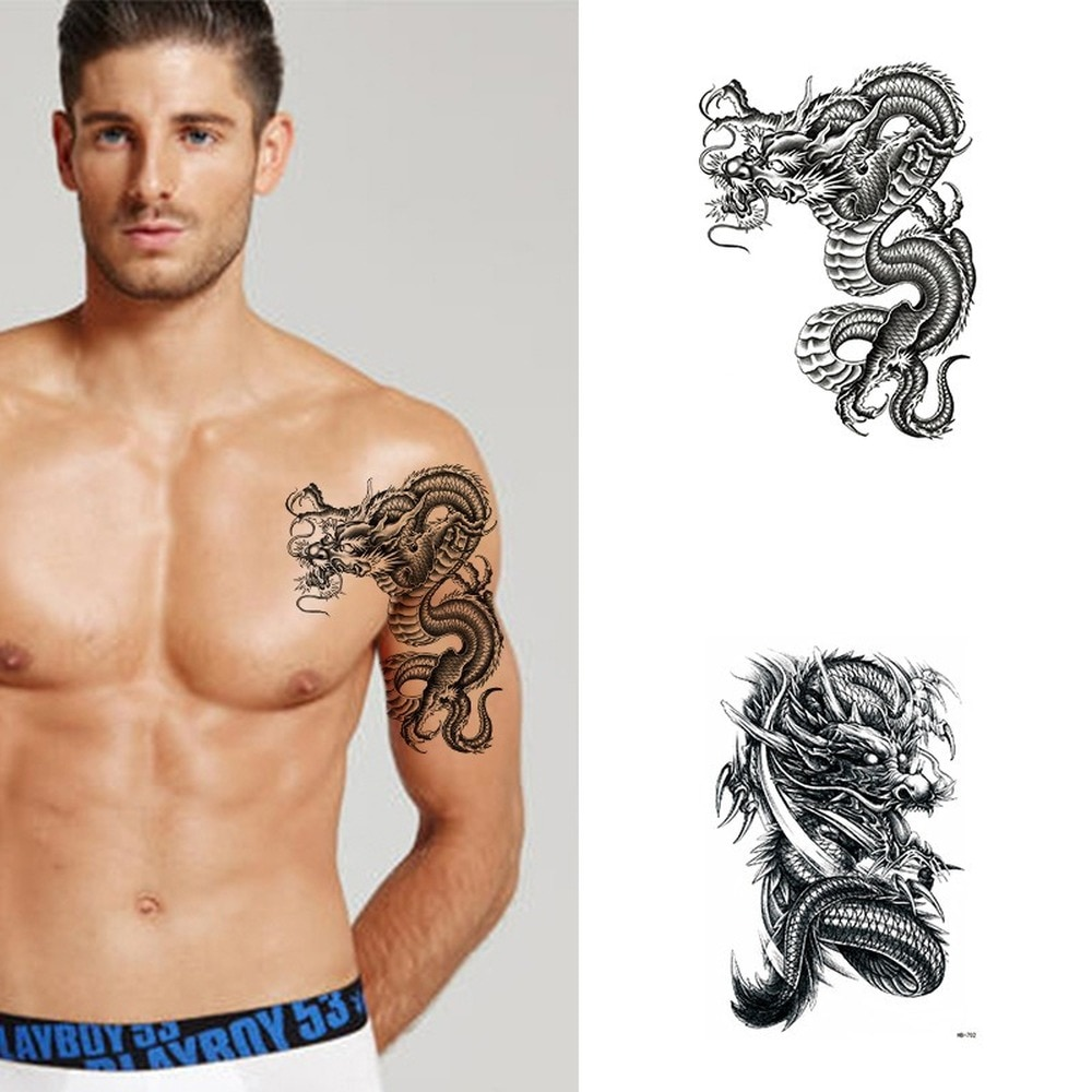 Waterproof Temporary Tattoo Sticker Dragon Totem Flash Tatoo Body Art Arm Thigh Fake Sleeve Tatto Man fake tattoo for woman