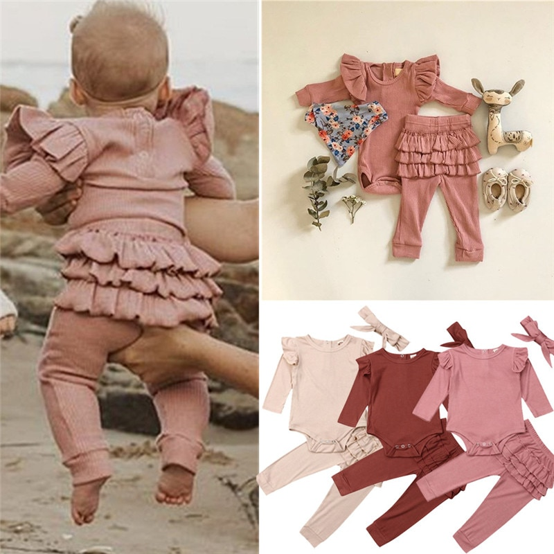 3Pcs Baby Clothing Set Spring Autumn Newborn Infant Girl Solid Outfits Ribbed Clothes Romper Top Ruffle Pants Headband Sets