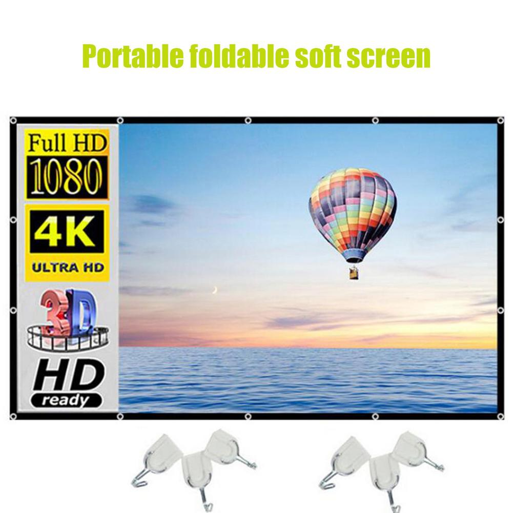 100 Inches 16:9 Projector Screen Home Indoor Foldable Projection Cloth Smartphone Holograms Indoor O